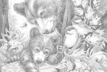 Beren en wolven met kleurvoorbeelden