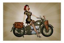Motorcycle Pin-Ups / Hot pin-up babes on bikes