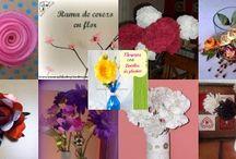 Flores y floreros.