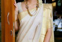 Kerala white saree styling