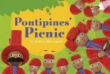 The Pontipines / The Pontipines are a large family of 10 that live in a semi-detached house at the foot of a tree. There are 8 children, 4 of which are girls and four of which are boys and they are always dressed in red. Their next-door neighbours are the Wottingers, who also have 8 children and they are always dressed in blue.