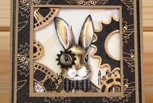 March Hares / CS124D 'March Hares' Clear set contains 9 stamps. Designed by the very talented Sharon Bennett for Hobby Art. Overall size of set - 100mm x 260mm approx.  / by Hobby Art Stamps