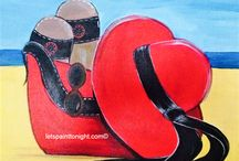 Acrylic paintings Summer fun / Acrylic paintings sun and surf.