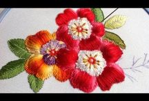 Hand embroidery puffed flower