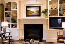 Fireplace TV built-ins / TV above Fireplace with built ins