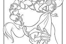 Coloriage de princesses / Cendrillon, Rebelle ou Sofia, coloriez ces jolies princesses avec tous leurs amis