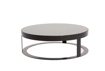 Contemporary Large Round Black Glass Top and Metal Base Roma Coffee Table