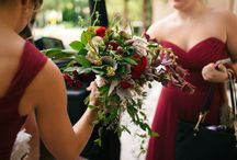 brittany + tyler / something so special about a small intimate family wedding. this florida bride chose beautiful burgundy chiffon gowns for her three bridesmaids, and loose & wild hand tied bouquets of ivory & burgundy flowers and lush greenery. amazing images from www.leviandval.com