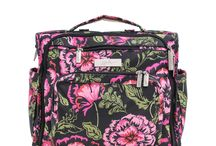 Blooming Romance: All Styles! / Blooming Romance is Ju-Ju-Be's 100th print! A gorgeous floral print featuring a black background, bright pink flowers, sage green lining and silver hardware!