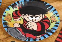 Dennis The Menace Party Supplies / A range of printed colour Dennis The Menace Tableware which includes napkins, plates, table cover, cups, cutlery in a variety of designs. add to any plain colour theme.
