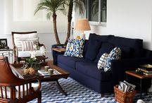 decoração sofá azul