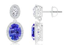 Diamond Halo Claw Tanzanite Two Tier Drop Earrings