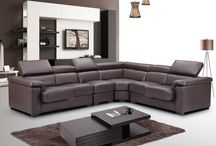 Modern Contemporary Genuine-Leather Brown Sectional