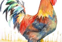 rooster walercolorpainting