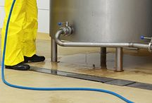 Chemical Washdown Area Flooring / This board contains photos of flooring for chemical washdown areas at food & beverage processing facilities.