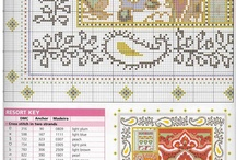 cross stitch pillow & table cloth