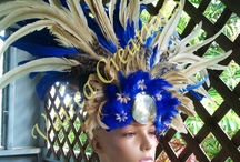 Tahitian Dance / Samples of Tahitian dance costumes and headdresses using feathers.
