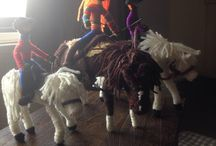 Chennile straw and wool figures and animals / I started making fairies for my granddaughter and this grew into making dolls of my grandchildren and their horses and then of my nieces and nephew.