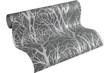 A.S CREATION LIFE GREY & SILVER TREE PRINT METALLIC WALLPAPER