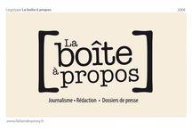 La boîte à propos / http://fabiendespinoy.free.fr/log-boiteapropos.html Conception d'un logotype pour un rédacteur attaché de presse indépendant.