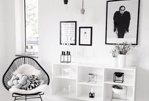 black & white interior