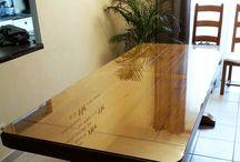 Plateau de table en verre trempé SECURIT sur mesure / Verres de sécurité en verre trempé (SECURIT) pour protection de table ou utilisé en plateau de table.