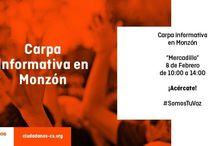 Carpas Informativas C's Monzón / Ciudadanos Monzón, agrupación de C's Aragón quiere acercarse a la ciudadanía a pie de calle, conocer sus inquietudes y sus reivindicaciones. Carpas Informativas y mesas informativas de nuestros proyectos para los ciudadanos