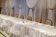 Wedding Bridal Decor / Pipe and drape backdrop and Cinderella skirting.  / by Susan Stein