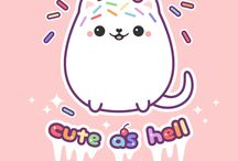 Kitipai / Super kawaii rainbow sprinkled marshmallow kitty cat with a super cute cherry on his head.