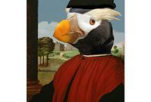Our Digital Composites / Watch out Rembrandt.  Animals are taking over the art museum and climbing into some very famous paintings.  (Digital composites created in photoshop.)  See more of our work at http://www.anthroanimals.com/anthropomorphic-composites.html.