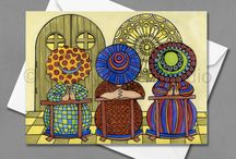"""The Girls by Carolyn Stich Studio / """"The Girls"""" is a series of prints Carolyn has created with girlfriends on various outings and adventures.  Artwork is available for purchase as greeting cards or prints.  Follow Facebook to view current events and products.  https://www.facebook.com/carolynstichart/"""