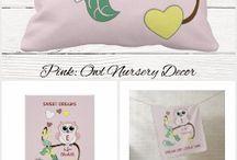 Nursery decor owl pink