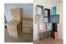 Bibliothèque caisses à vin