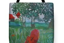 Tote with red poppies
