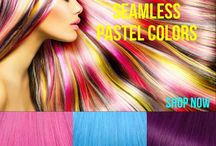 Pastel Hair Extensions - Tape In Hair Extensions / What is your pastel palate? Introducing seamless pastel hair extensions. Go all in full length color, add a few pieces for definite noticeable highlights or go pastel ombre!
