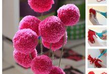 pompoms fleurs