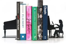 Bookends CHOPIN / Bookends Chopin  Metal laser cut Powder coating paint Antiskid pads Height 18 cm - 7 inc.  © Tolonensis Creation www.tolonensis.com  http://www.delorentis.eu/bookends-chopin.html