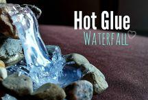 Hot glue waterfalls