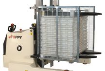 Mobile pallet changer - pallet inverter - pallet turner / A selection of photos about our mobile pallet changers - pallet inverters and pallet turners
