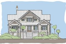 """Edisto Tide / The Edisto Tide plan is an elevated design ideal for coastal areas with side entry parking access. This home has a smaller master bedroom, but features an expanded, screened-in, wrap around porch and a Carolina """"sun"""" room off of the kitchen. There is also a private dining room off the the kitchen and the entry way. Upstairs there are three additional guest bedrooms with two full baths, a small study and a media room with access tot he viewing porch."""