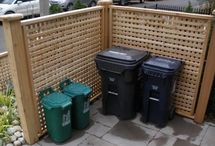 Outdoors trash can storage / Hiding garbage cans, trash can screens / by Pam Good