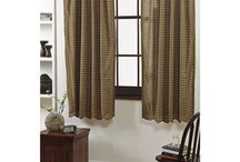 Country Curtains / Curtains for the country primitive home or cabin. 100% Cotton. Style of Curtains include: Panels, Tiers, Swags, and Valances.