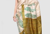 Tussar Silk Hand Painted Sarees / Designed with the earthy components, experimental, tribute to the nature