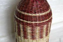 Бутылки, вазы, банки, чашки / Плетение из газет