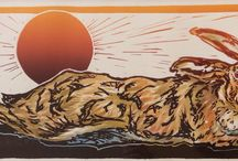 Hares, hares, hares / New hare Lino cuts in single and multi colour inking with watercolour hightlights