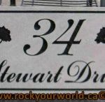 HOUSE MARKERS / Engraved house numbers, address stones, closing gifts, engraved signs, house markers and engraved address markers, house number stones. Engraved house numbers on marker stones, house address signs, number signs and engraved keystones come in a variety of colours and stone types.