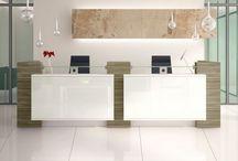 Ontvangstbalie / Toonbank / Wij kunnen uw wensen vertalen in mooi multifunctioneel meubel. Voor de ontvangst van klanten, als toonbank, om aan te werken of een combinatie.