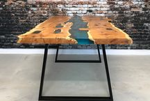 River Tables / A beautiful reflection of nature in a modern and sleek dining table  Designed to look as if they have a river running through the centre, these stunning dining tables can be customised to any size and have any colour down the middle.