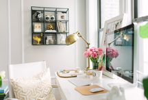 Gold and White Home Office Ideas
