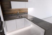 Návrh designové kuchyně pro showroom / Návrh kuchyně pro prezentaci v showroomu, která by se dala využít také při veletrzích